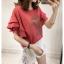 """++พร้อมส่ง++ เสื้อยืดสาวอวบสีส้มอิฐพิมพ์อักษรที่หน้าอกเสื้อ 4XL อก 44"""""""