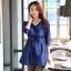 เดรสออกงาน แขนยาว สีน้ำเงิน/สีแดงไวน์ (XL,2XL) JK-9724