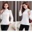 เสื้อทำงานผู้หญิงแขนยาวสีขาว ประดับลูกไม้แฟชั่นสวยหรู thumbnail 4