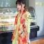 ผ้าพันคอแฟชั่น Retro Graphic : สีส้ม ผ้าชีฟอง size 150x50 cm thumbnail 7