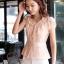 เสื้อทำงานผู้หญิงแขนสั้น ผ้าชีฟอง สีชมพู thumbnail 18