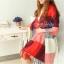 ผ้าพันคอ ผ้าคลุมพัชมีนา Pashmina scarf ลายตาราง size 200x60 cm - สี Red blue thumbnail 2