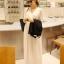 """""""พร้อมส่ง""""เสื้อผ้าแฟชั่นสไตล์เกาหลีราคาถูก Brand God is girl แม๊กซี่เดรสแขนกุด คอวี จั๊มเอว มีซับในช่วงกระโปรง -สีขาว thumbnail 1"""