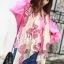 ผ้าพันคอลายโบว์ : Bow print scarf สีครีม - ผ้าชีฟอง 160 x 45 cm thumbnail 3