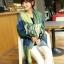 ผ้าพันคอ ผ้าคลุมพัชมีนา Pashmina ลายตาราง size 200x60 cm- สี Green Blue thumbnail 4