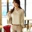 เสื้อเชิ้ตแฟชั่นทำงานผู้หญิงแขนยาวลูกไม้สีขาว ปกสีชมพูโอรส thumbnail 14