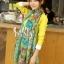 ผ้าพันคอลายดอกไม้ Blossom Bloom สี Blue Green ผ้า Viscose size 180x90 cm thumbnail 3
