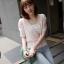 """size M""""พร้อมส่ง""""เสื้อผ้าแฟชั่นสไตล์เกาหลีราคาถูก Brand Chuvivi เสื้อชีฟองสีชมพูอ่อน คอวี จั๊มเอวมีระบาย มีซับใน -size M thumbnail 1"""