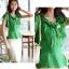 เสื้อทำงานผู้หญิงแขนสั้น ผ้าชีฟอง สีเขียว thumbnail 7