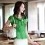 เสื้อทำงานผู้หญิงแขนสั้น ผ้าชีฟอง สีเขียว thumbnail 13