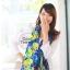 ผ้าพันคอแฟชั่น Retro Graphic : สีม่วง ผ้าชีฟอง size 150x50 cm thumbnail 4