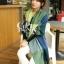 ผ้าพันคอ ผ้าคลุมพัชมีนา Pashmina ลายตาราง size 200x60 cm- สี Green Blue thumbnail 3