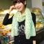 ผ้าพันคอลายจุด ขอบระบายลูกไม้ สีเขียว ผ้าพันคอ viscose - size 160x80 cm thumbnail 5
