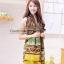 ผ้าพันคอลาย Fairy Tale สีน้ำตาลเหลือง - ผ้า Cotton Twill - size 180 x 90 cm thumbnail 4