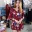 ขายส่ง:เดรสสั้นดอกสดใสน่ารักคอวีไขว้เฉียงต่อปลายระบายเฉียง/อก38 thumbnail 2
