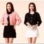 Set 2 ชิ้น ชุดเซ็ท เสื้อคลุม+ชุดเดรสกี่เพ้า [เสื้อคลุมดำ+เดรสขาว/เสื้อคลุมชมพูอมส้ม+เดรสดำ] (XL,2XL,3XL) 9857+9875