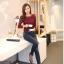 เสื้อทำงานผู้หญิงแขนยาวลูกไม้สีแดง คอประดับมุก สวยหรู thumbnail 7