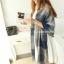 ผ้าพันคอ ผ้าคลุมพัชมีนา Pashmina ลายตาราง size 200x60 cm - สี ligh blue thumbnail 2