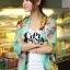 ผ้าพันคอลายดอกไม้ Colorful flower สี Mint ผ้าพันคอ Silk Chiffon - size 160 x 60 cm thumbnail 3