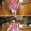 ผ้าพันคอลายดอกไม้ Colorful flower สี Pink ผ้าพันคอ Silk Chiffon - size 160 x 60 cm thumbnail 4