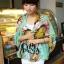 ผ้าพันคอลายดอกไม้ Colorful flower สี Mint ผ้าพันคอ Silk Chiffon - size 160 x 60 cm thumbnail 1