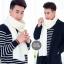 ผ้าพันคอไหมพรมถัก Knit Scarf - size 160x30 cm - สี White thumbnail 1