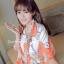 ผ้าพันคอแฟชั่นลายโซ่ Chiffon Coach : สีส้ม : ผ้าพันคอ Silk Chiffon - size 160x60 cm thumbnail 4