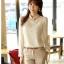 เสื้อเชิ้ตแฟชั่นทำงานผู้หญิงแขนยาวลูกไม้สีขาว ปกสีชมพูโอรส thumbnail 15