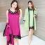 ชุดนอนกระโปรง+เสื้อคลุม ผ้าไหมซาตินแต่งผ้าลูกไม้ชวนฝันสไตล์เซ็กซี่ สีเขียวสดและสีม่วงสง่างาม (XL,2XL,3XL) ZX-0471
