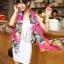 ผ้าพันคอลายดอกไม้ Colorful flower สี Pink ผ้าพันคอ Silk Chiffon - size 160 x 60 cm thumbnail 1