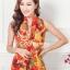 ผ้าพันคอแฟชั่น Retro Graphic : สีส้ม ผ้าชีฟอง size 150x50 cm thumbnail 1