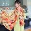 ผ้าพันคอแฟชั่น Retro Graphic : สีส้ม ผ้าชีฟอง size 150x50 cm thumbnail 5