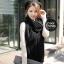 ผ้าพันคอไหมพรมถัก Knit Scarf - size 160x30 cm - สี Black thumbnail 4