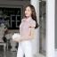 เสื้อทำงานผ้าลูกไม้แขนสั้นแฟชั่นน่ารักๆสีชมพู thumbnail 4