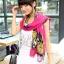 ผ้าพันคอลายดอกไม้ Colorful flower สี Pink ผ้าพันคอ Silk Chiffon - size 160 x 60 cm thumbnail 2
