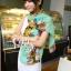 ผ้าพันคอลายดอกไม้ Colorful flower สี Mint ผ้าพันคอ Silk Chiffon - size 160 x 60 cm thumbnail 4