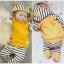 ชุด 2 ชิ้น เสื้อยืดผ้านิ่มเด้งมีฮูทสีเหลือง + กางเกงลายขวาง thumbnail 1