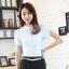 เสื้อเชิ้ตทำงานผู้หญิงแขนสั้น สีขาว thumbnail 1