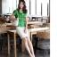 เสื้อทำงานผู้หญิงแขนสั้น ผ้าชีฟอง สีเขียว thumbnail 15