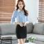 เสื้อเชิ้ตทำงานผู้หญิงแขนยาว สีฟ้า ปกสีขาว เป็นชุดยูนิฟอร์มได้ thumbnail 8
