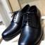รองเท้าผู้ชาย | รองเท้าแฟชั่นชาย Black Derby Cut Shoes Smooth Leather หนังวัวแท้ thumbnail 2