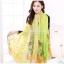 ผ้าพันคอลายดอกคาเนชั่น Carnation : สีเขียวเหลือง ผ้า Viscose size 180x90 cm thumbnail 1