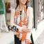ผ้าพันคอแฟชั่นลายโซ่ Chiffon Coach : สีส้ม : ผ้าพันคอ Silk Chiffon - size 160x60 cm thumbnail 6