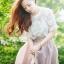 """size M""""พร้อมส่ง""""เสื้อผ้าแฟชั่นสไตล์เกาหลีราคาถูก Brand Aishikada set 3 ชิ้น เสื้อสายเดี่ยวตัวในสีขาว + เสืื้อตัวนอกเป็นผ้าโปร่งปักลายดอกไม้สีขาวแขนสั้น + กระโปรงสีม่วงอ่อนคลุมด้วยผ้าโปร่งสีออกน้ำตาล ซิปข้าง -size M thumbnail 1"""