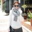ผ้าพันคอไหมพรมถัก Knit Scarf - size 160x30 cm - สี ligth gray thumbnail 2