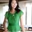 เสื้อทำงานผู้หญิงแขนสั้น ผ้าชีฟอง สีเขียว thumbnail 1