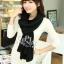 ผ้าพันคอไหมพรม ผ้า cashmere scarf size 180x30 cm - สี Black thumbnail 1