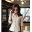 เสื้อเชิ้ตทำงานผู้หญิง สีน้ำตาลอ่อน โบว์สก๊อต thumbnail 5