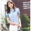 เสื้อเชิ๊ตผู้หญิงแขนสั้น สีฟ้า แฟชั่นสำหรับสาวออฟฟิศ thumbnail 3