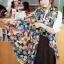 ผ้าพันคอแฟชั่น Retro Graphic : เข็มกลัดสีดำ ผ้าชีฟอง size 160x45 cm thumbnail 1